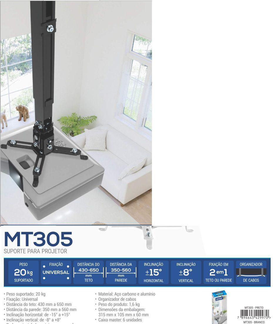 MT 305 Suporte 2 em 1 para Projetor - TETO ou PAREDE. (Ajuste de alturade 380 a 620mm)