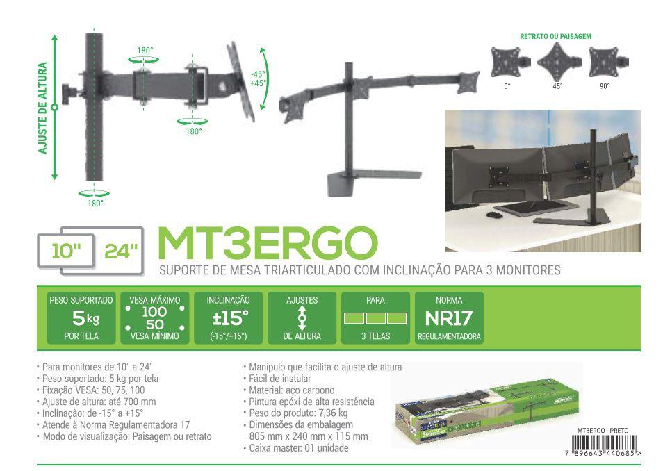 MT 3 ERGO Suporte para 03 Monitores Ate 24 Polegadas Cor: Preto