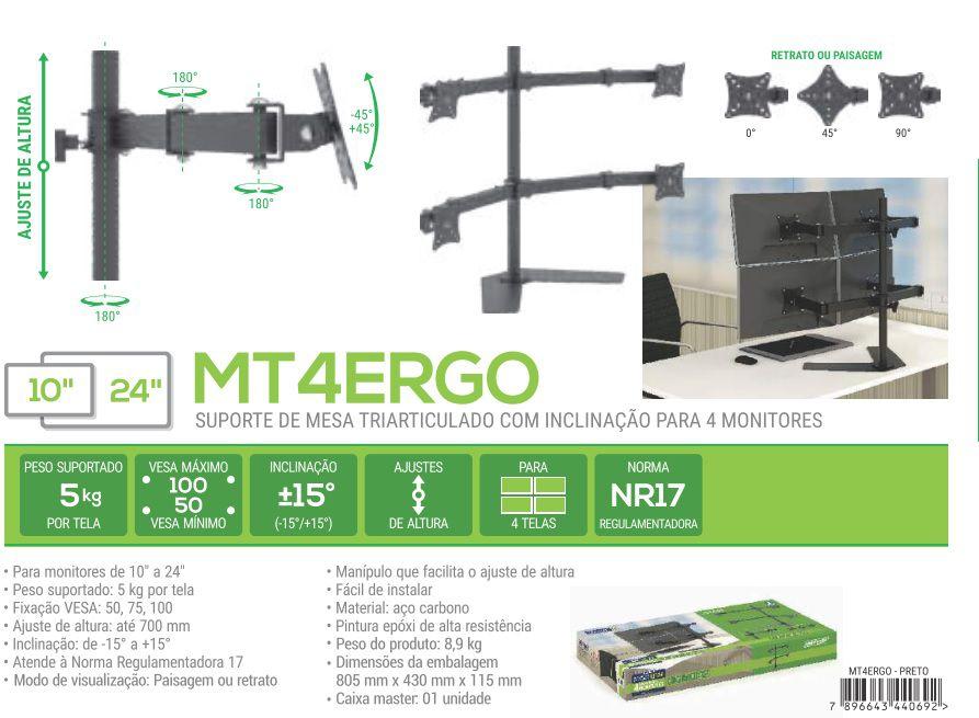 MT 4 ERGO Suporte para 04 Monitores Ate 24 Polegadas Cor: Preto