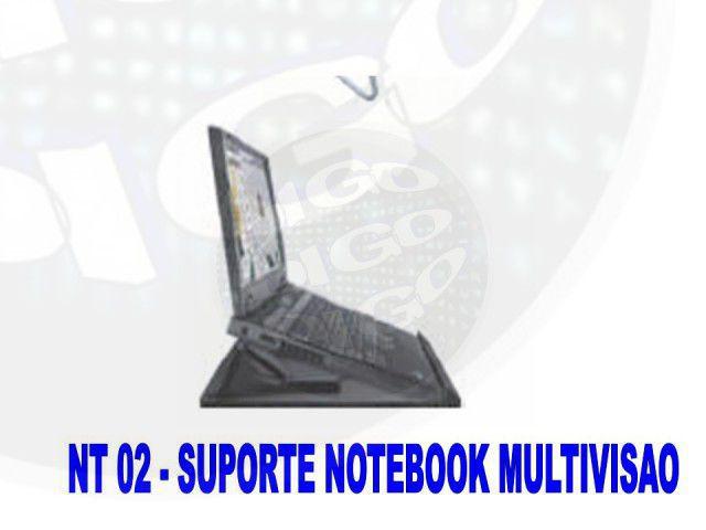 NT-COOLER-PR Suporte para Laptop com Ajuste de Altura, Giro na Base e Coolers para Refrigeração - Pr
