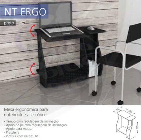 NT ERGO Mesa p/Notbook com Tampo e Apoio de pé Ajustavel Branco