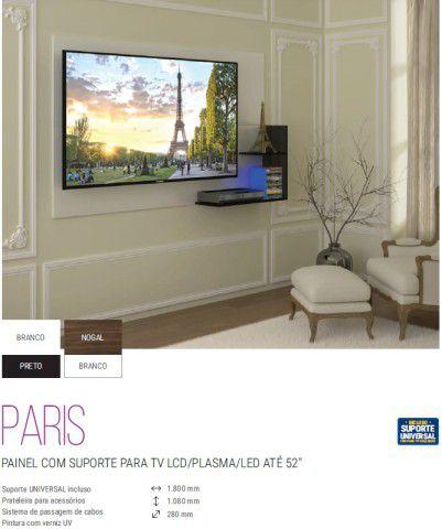 """PARIS PAINEL COM SUPORTE PARA TV LCD/PLASMA/LED ATÉ 52"""" - Suporte UNIVERSAL incluso"""