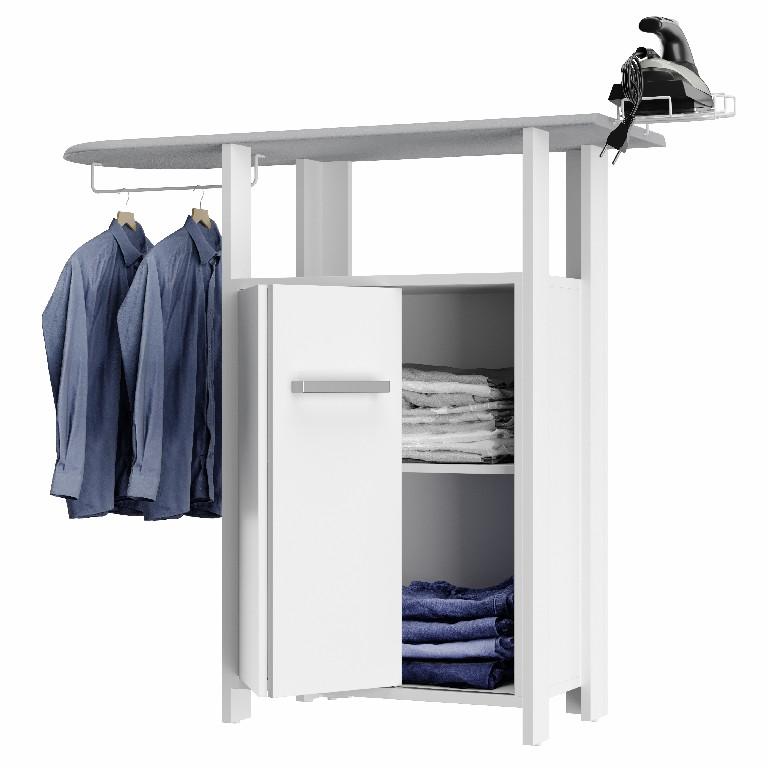 Passadeira Panto Movel para passar roupa c/Tecido Térmico porta e prateleira-Branco