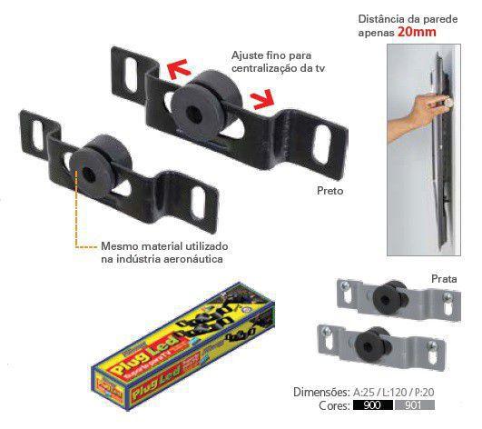 """PLUG LED Suporte Fixo para TV LED de 14"""" a 71"""" - UNIVERSAL Cor: Preto"""