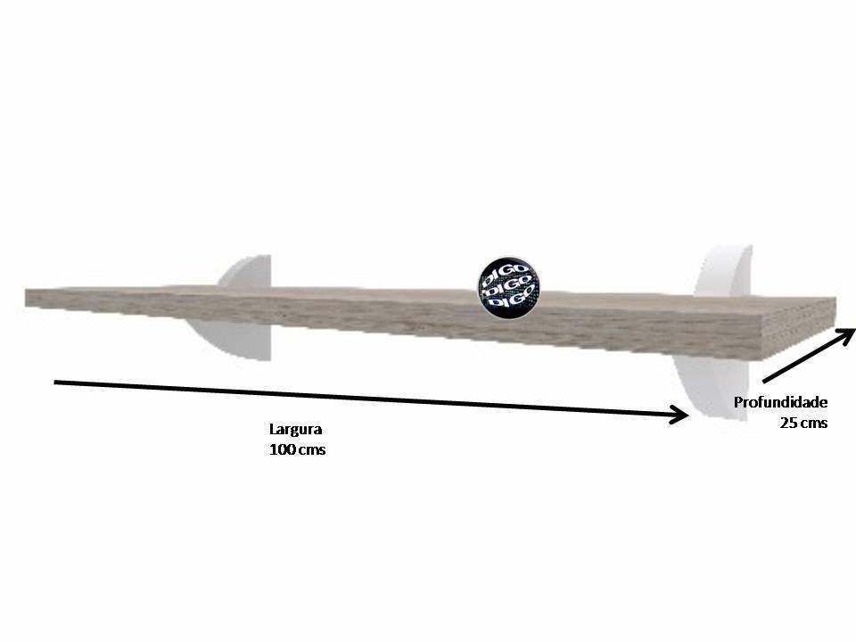 Prateleira 25x100 cms com suporte incluso DECORE CLIP 25100