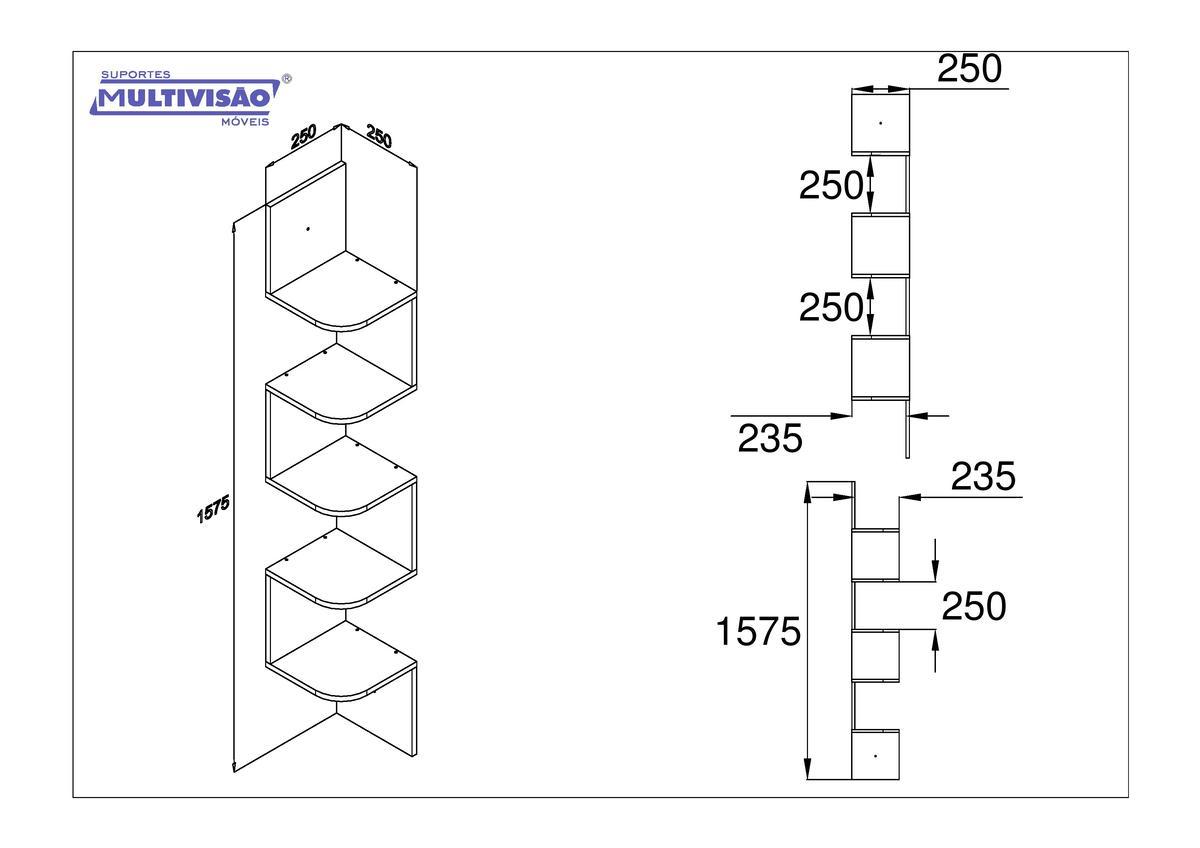 Prateleira Nicho Flutuante 157,5x25  cms com suporte incluso Decore KIT CANTO