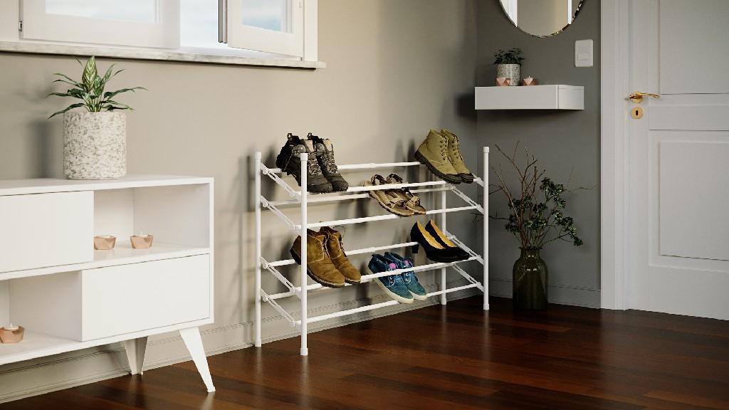 SAPT-IRON Sapateira de aço, empilhável, com regulagem de largura e profundidade para diferentes tamanhos e tipos de sapatos.