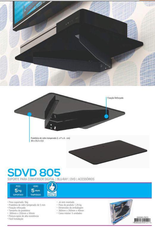 SDVD 805 Suporte para Blu-Ray/DVD/Acessórios - (Vidro temperado 5mm) Preto