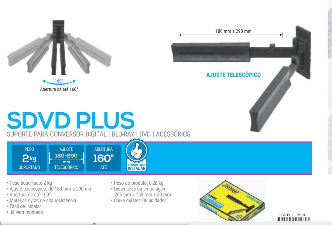 SDVD PLUS PRE Suporte para Blu-Ray/DVD/Acessórios - Preto