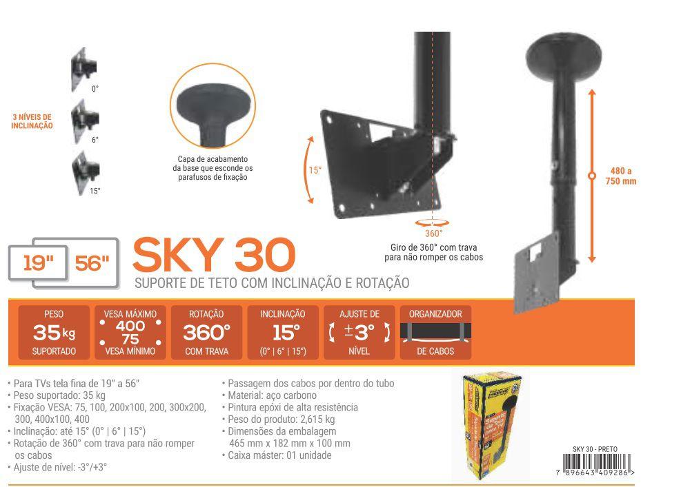 """SKY 30 Suporte de Teto para TV LCD/LED de 19"""" a 56"""" (Ajuste de altura de 480 a 750mm)"""
