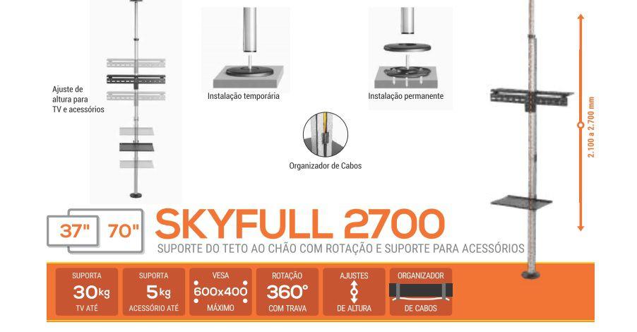 """SKY Full 2700  SUPORTE DE TETO-CHÃO DE 210 A 270CM PARA TV DE 37"""" a 70"""" Cor: Preto"""
