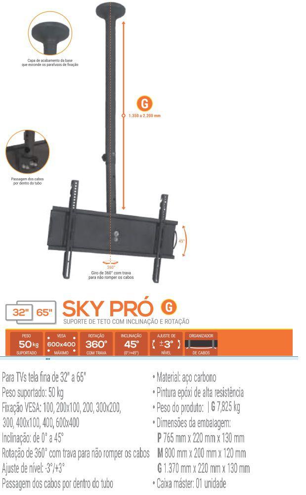 """SKY PRO G Suporte de Teto para TV LCD/Plasma/LED de 32"""" a 52"""" (Ajuste de altura de 1.350mm a 2.2"""