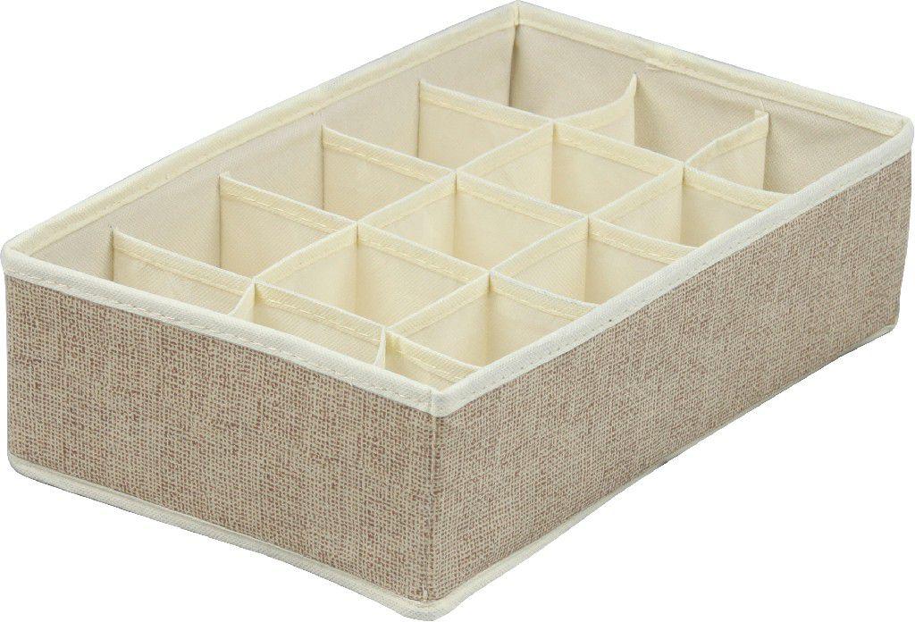 SO 00974 Caixa Organizadora de Gavetas 32x21x10 cms cor bege