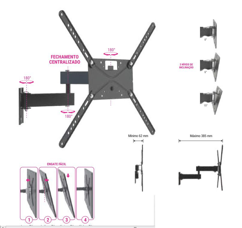 Suporte Bi-Articulado com inclinação para tv 14 A 43 Pol STPA 230