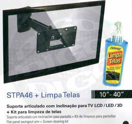 """STPA 46 LT Suporte Articulado com inclinação para TV LCD/LED de 10"""" a 40"""" + Limpa Telas"""