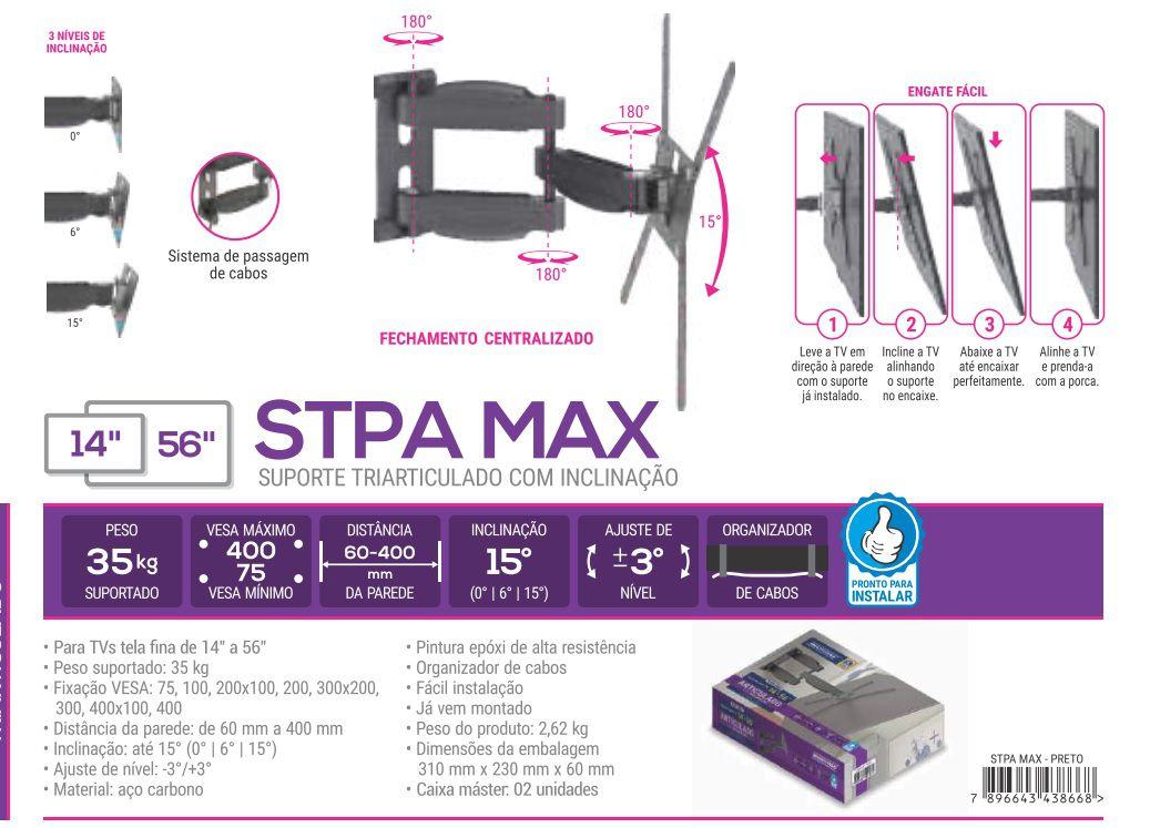 STPA MAX PRE Suporte articulado com inclinação. Ate 56 pol PRETO