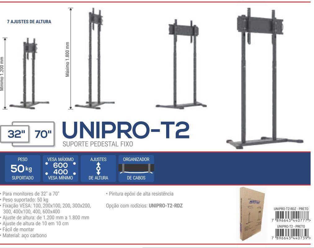 UNI PRO T 2  com rodízios Pedestal de chão para TV tela plana 56 pol 1200 a 1800 cms PRETO