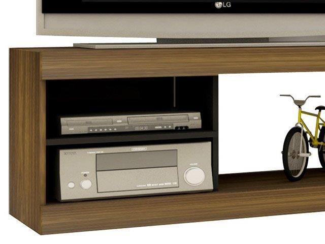 """VISION Rack para TV Até 42"""" c/ Painel Decorativo """"UV"""" Cor: Imbuia com Preto"""