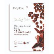 Máscara Facial de Tecido Café e Chocolate - Ruby Rose
