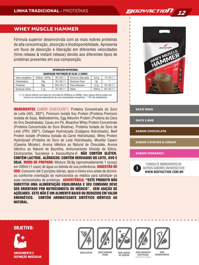 Whey Muscle Hammer - Refil (Pouch) - 900g - BodyAction
