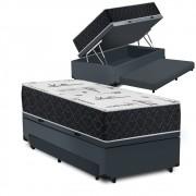 Cama Box Baú Auxiliar Solteiro Cinza + Colchão Comfort Maxx Extra Firme D33 Solteiro - Comfort Prime 88x188x72cm
