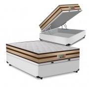 Cama Box Baú Casal Branca + Colchão de Molas Ensacadas - Comfort Prime - Prime Dreams Classic - 138x188x64cm