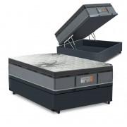 Cama Box Baú Casal Cinza + Colchão de Molas Ensacadas - Comfort Prime - New Aspen - 138x188x72cm