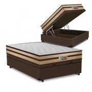 Cama Box Baú Casal Marrom + Colchão de Molas Ensacadas - Comfort Prime - Prime Dreams Classic - 138x188x64cm