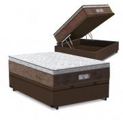 Cama Box Baú Casal Marrom + Colchão de Molas Ensacadas - Comfort Prime - Aspen - 138x188x72cm