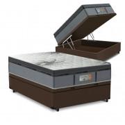 Cama Box Baú Casal Marrom + Colchão de Molas Ensacadas - Comfort Prime - New Aspen - 138x188x72cm