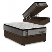 Cama Box Baú Casal Marrom + Colchão de Molas Ensacadas - Sealy - Platinum - 138x188x74cm