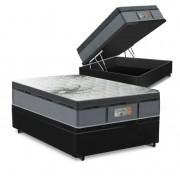 Cama Box Baú Casal Preta + Colchão de Molas Ensacadas - Comfort Prime - New Aspen - 138x188x72cm