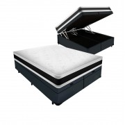 Cama Box Baú King Cinza + Colchão Espuma D45 - Castor - Black & White D45 Double Face 193x203x69cm