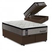 Cama Box Baú King Marrom + Colchão de Molas Ensacadas - Sealy - Platinum - 193x203x74cm