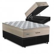 Cama Box Baú King Preta + Colchão de Molas Superlastic - Plumatex - Toulouse - 193x203x76cm