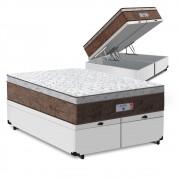 Cama Box Baú Queen Branca + Colchão de Molas Ensacadas - Comfort Prime - Aspen - 158x198x72cm
