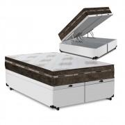 Cama Box Baú Queen Branca + Colchão de Molas Superlastic - Comfort Prime - Coil Classic - 158x198x64cm