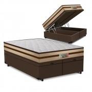 Cama Box Baú Queen Marrom + Colchão de Molas Ensacadas - Comfort Prime - Prime Dreams Classic - 158x198x64cm