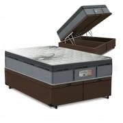 Cama Box Baú Queen Marrom + Colchão de Molas Ensacadas - Comfort Prime - New Aspen - 158x198x72cm