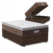 Cama Box Baú Queen Marrom + Colchão de Molas Ensacadas - Comfort Prime - Aspen - 158x198x72cm