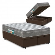 Cama Box Baú Queen Marrom + Colchão Espuma D33 - Lucas Home - Confort D33 158x198x68cm
