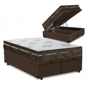 Cama Box Baú Queen Marrom + Colchão de Molas Superlastic - Comfort Prime - Coil Classic - 158x198x64cm