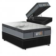 Cama Box Baú Queen Preta + Colchão de Molas Ensacadas - Comfort Prime - New Aspen - 158x198x72cm
