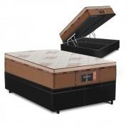 Cama Box Baú Queen Preta + Colchão de Molas Ensacadas - Comfort Prime - New Imperador - 158x198x75cm