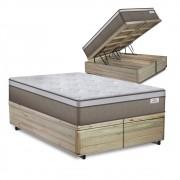 Cama Box Baú Queen Rústica+ Colchão de Molas Ensacadas - Plumatex -  Ilhéus 158x198x68cm