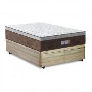Cama Box Baú Queen Rústica + Colchão de Molas Ensacadas - Comfort Prime - Aspen - 158x198x72cm