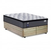 Cama Box Baú Queen Rústica + Colchão de Molas Ensacadas - Sealy - Starck - 158x198x70cm