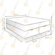 Cama Box Baú Queen Rústica + Colchão Molas Bonnel - Lucas Home - OuroFlex 158x198x67cm