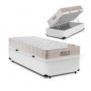 Cama Box Baú Solteiro Branca + Colchão De Molas Ensacadas - Ortobom - AirTech SpringPocket 88x188x72cm