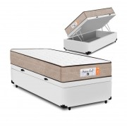 Cama Box Baú Solteiro Branca + Colchão de Molas Superlastic - Comfort Prime - Coil Crystal 78x188x60cm